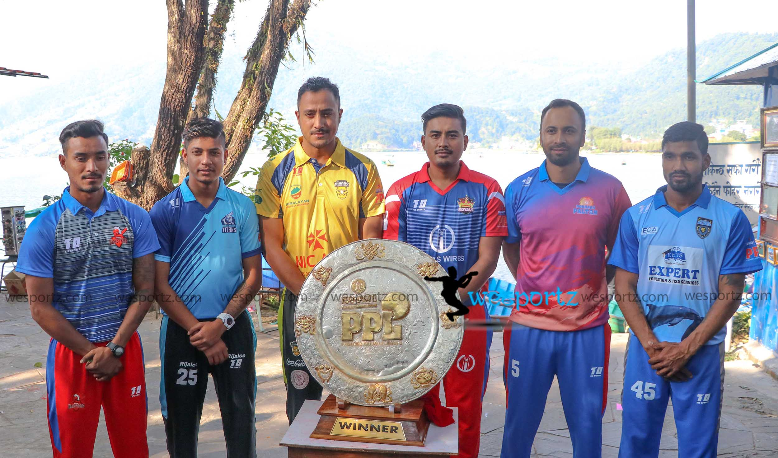 Pokhara Premier League trophy with captains